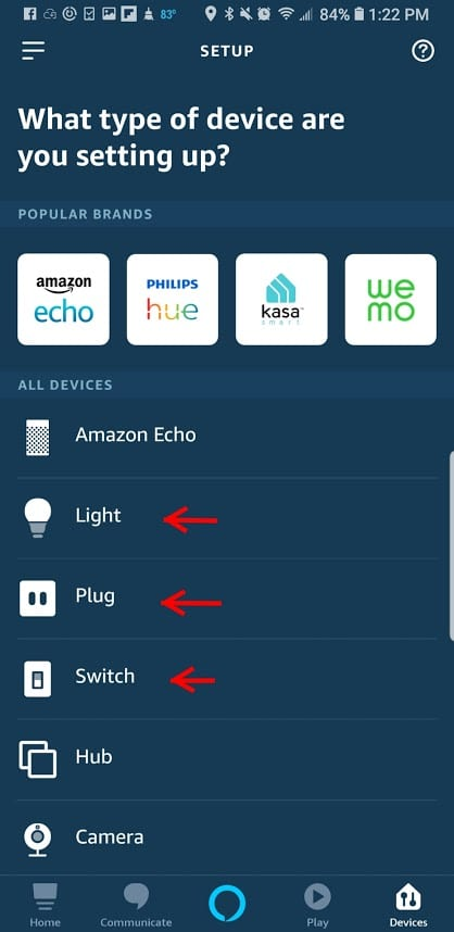 Select the type of smart light solution you're trying to operate with your Echo device.