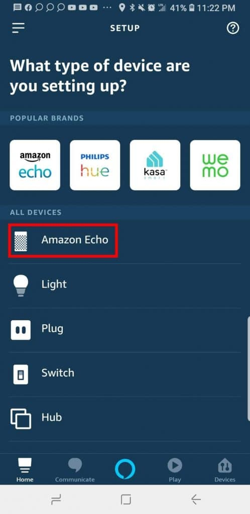 Alexa Settings, Select Amazon Echo