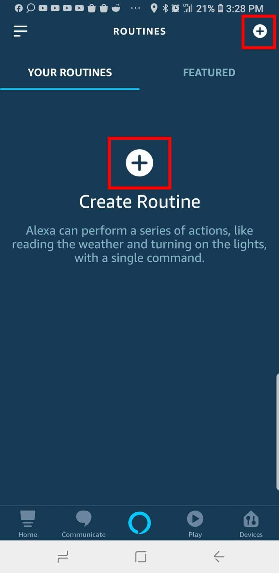 """Select """"Creat Routine"""""""