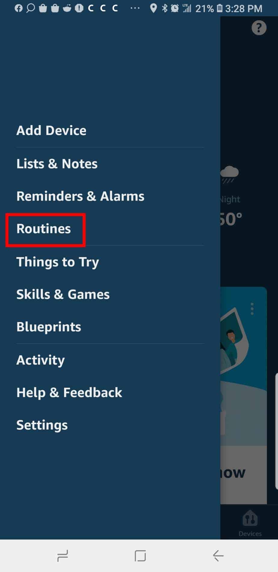 Alexa Main Menu For Creating A Routine