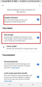 """Toggle on """"Google Assistant"""", then toggle on """"Hey Google""""."""