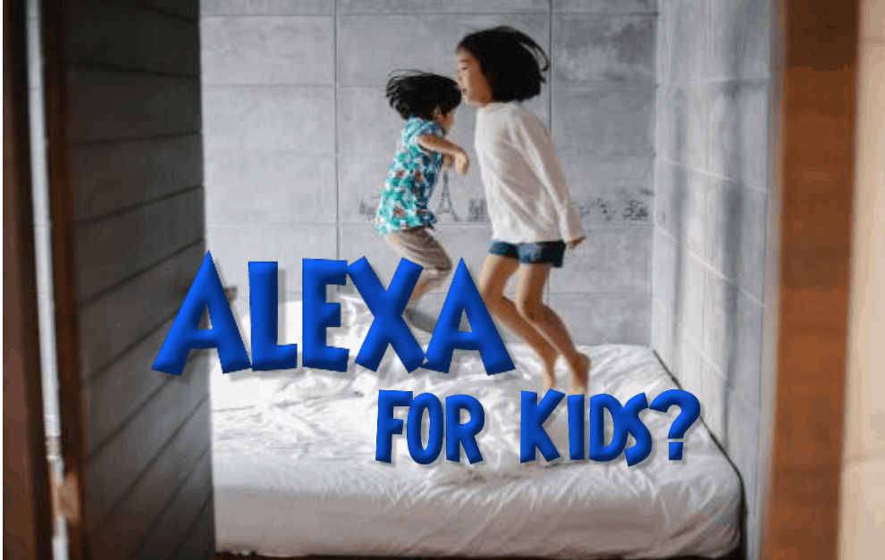 Best Alexa For Kids - Children jumping on bed